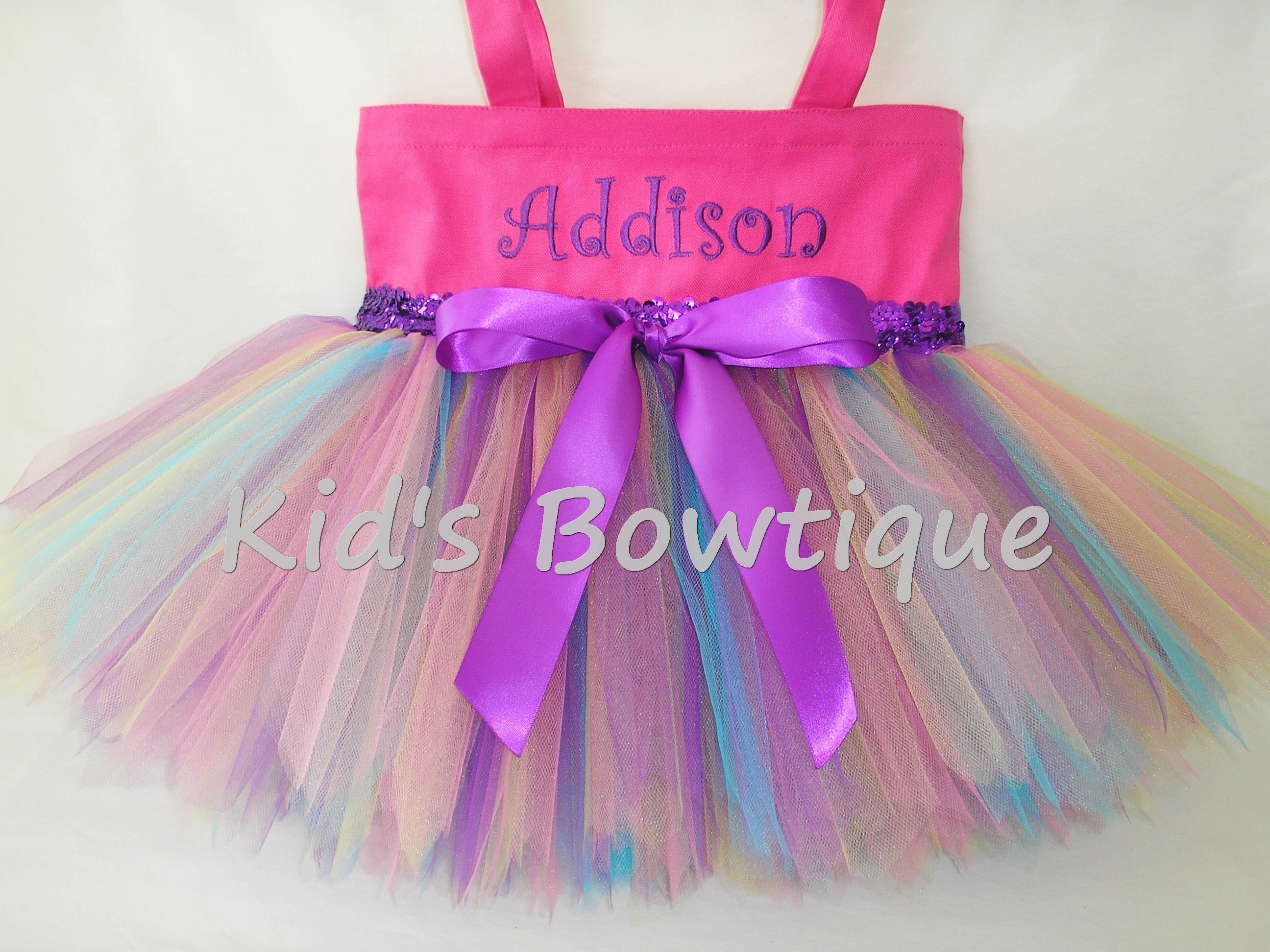 Monogrammed Tutu Tote Bag - ttb43 LG Hot Pink Rainbow Fairy