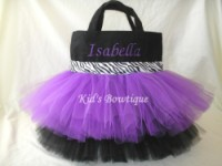 Monogrammed Tutu Tote Bag - ttb27  Double Purple and Black Zebra Ribbon