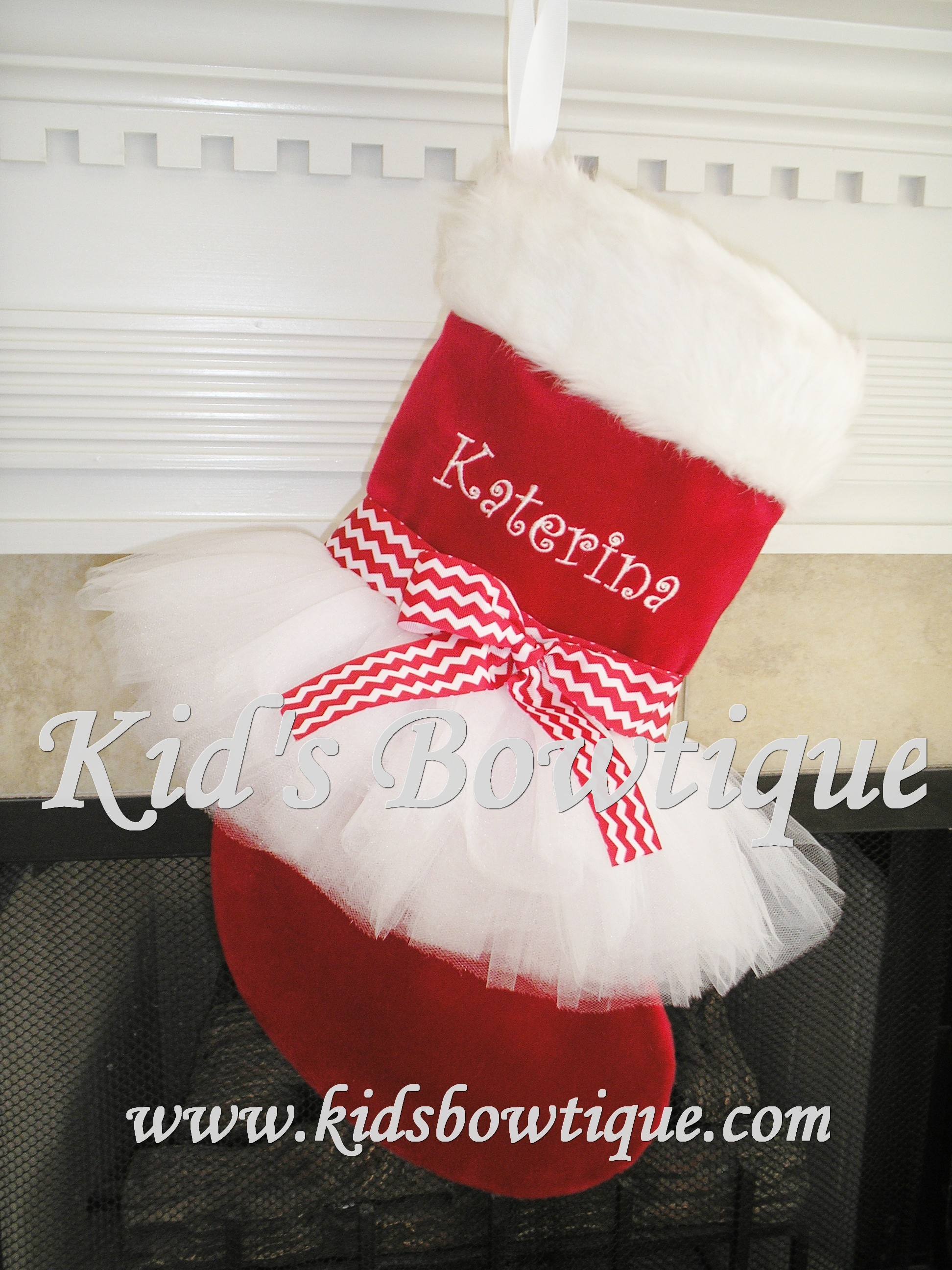 Christmas Tutu Stocking - ItemCTS14 Monogrammed Red Chevron Bow Stocking