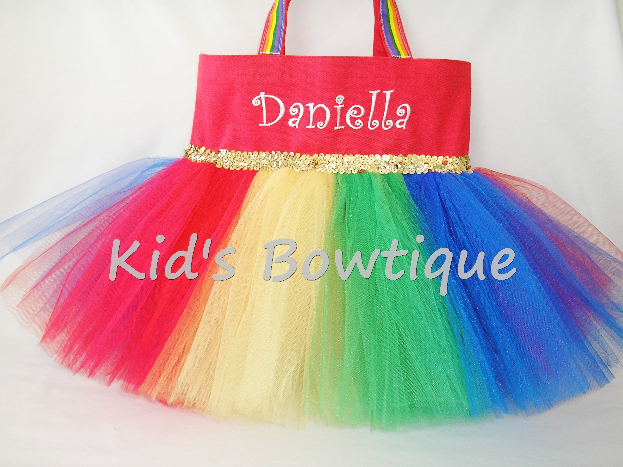 Monogrammed Tutu Tote Bag - ttb24 Over the Rainbow