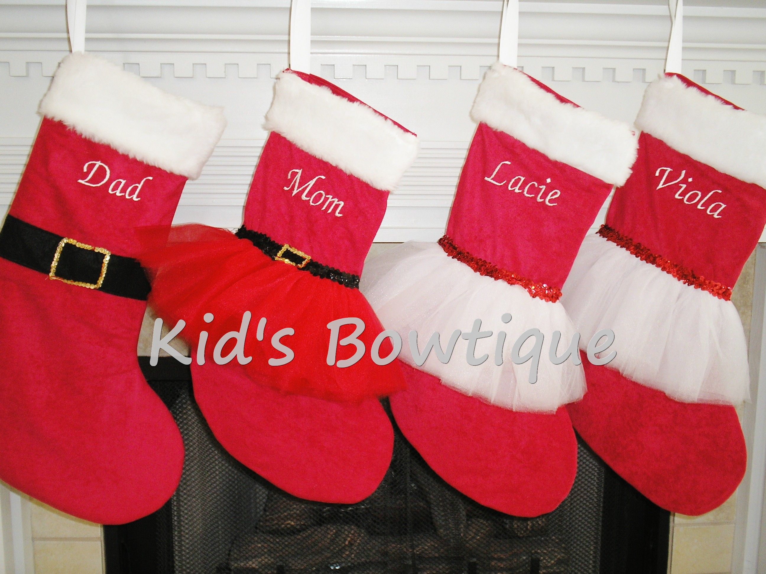 Family Set of Personalized Santa, Mrs.Claus, and Red/White Christmas Tutu Stockings