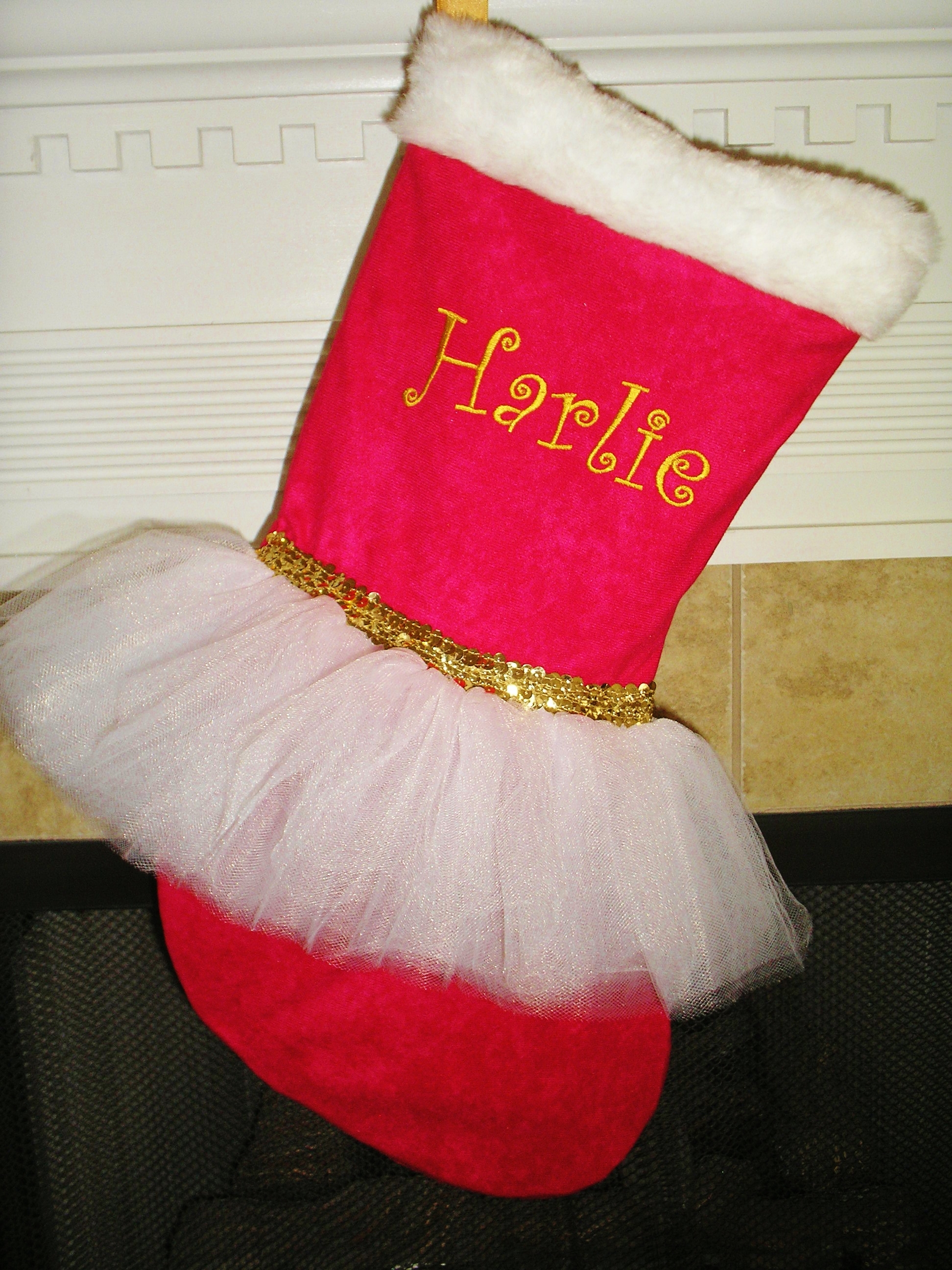 Christmas Tutu Stocking - ItemCTS8 Monogrammed Classic Red and White Tutu with Gold Sequins