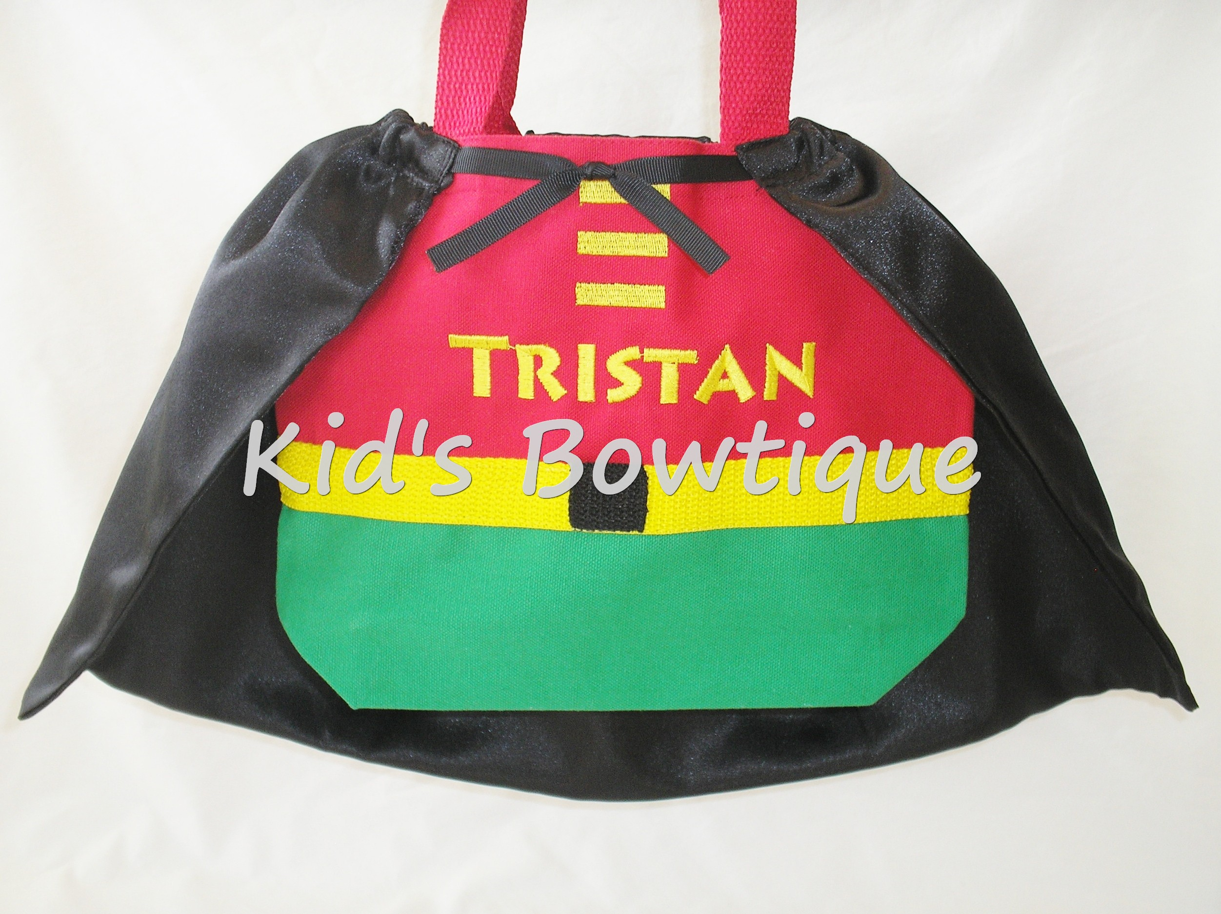 Monogrammed Superhero with a Cape Tote Bag - Halloween Superhero Trick or Treat Bag