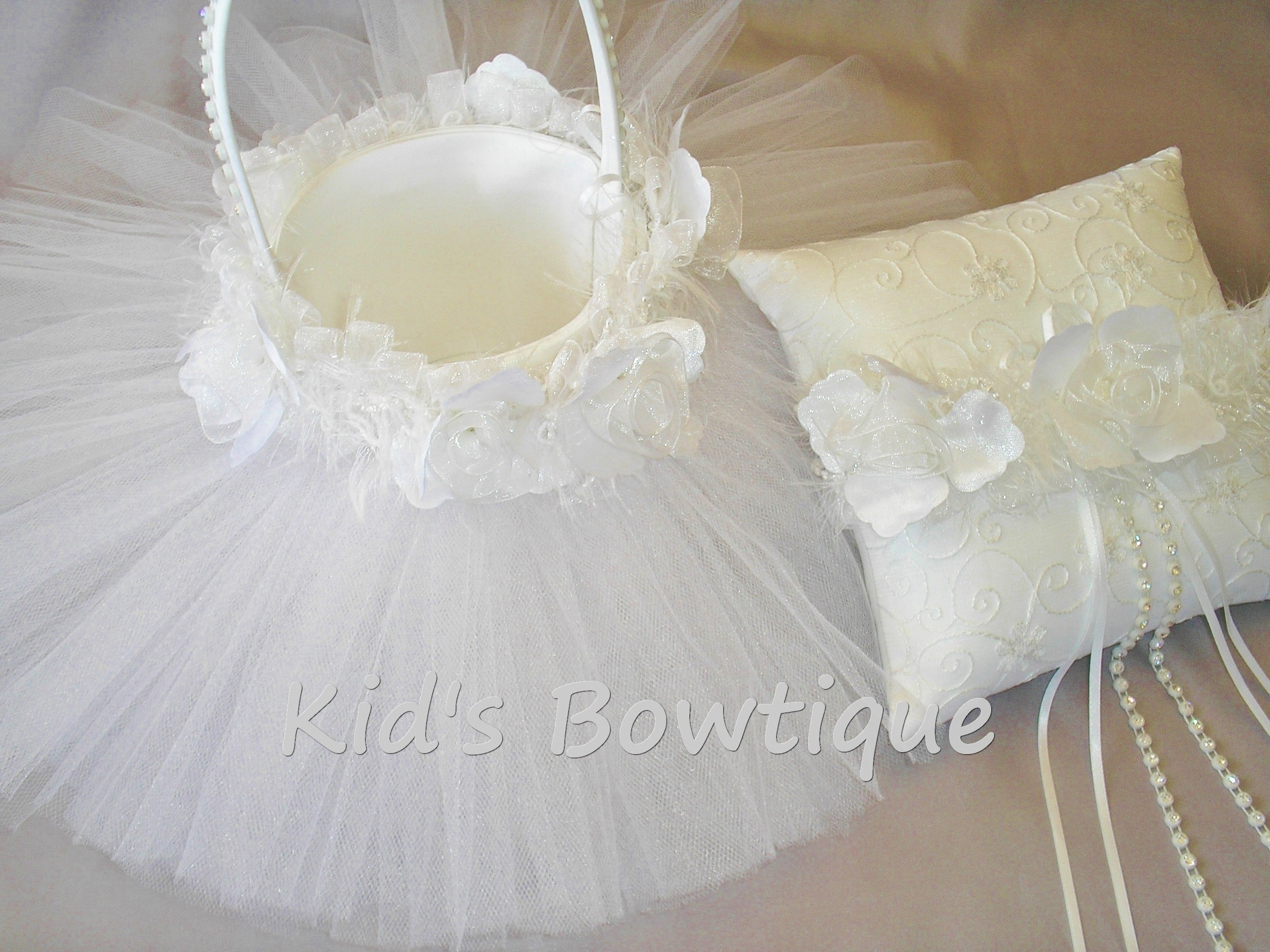 Wedding Flower Girl Tutu and Roses Trim Basket with Matching Ring Bearer Pillow Item#FBP1