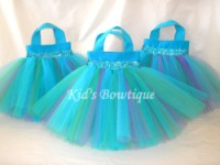 Party Favor Tutu Bags -Item pftb5 Peacock Turquoise Purple and Green
