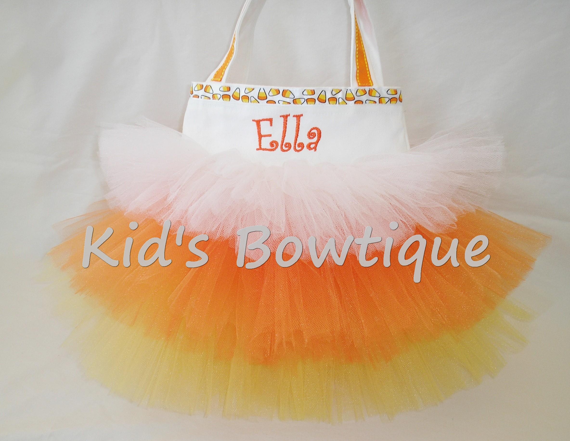 Halloween Tutu Bags - Item HTB1 Monogrammed Candy Corn Tutu Bag