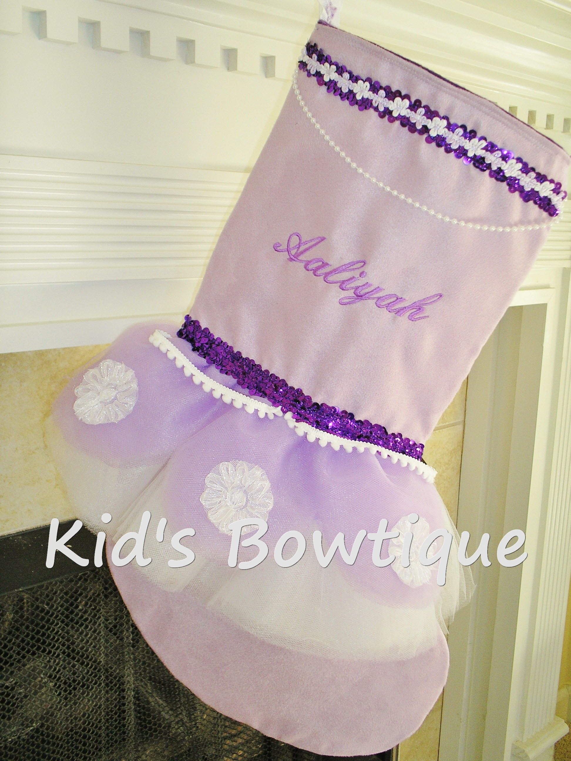 Christmas Tutu Stocking - ItemTS12 Monogrammed Purple Elegance Stocking