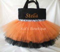 Halloween Tutu Bags - Item HTB2 Monogrammed Orange & Black with Zebra Ribbon