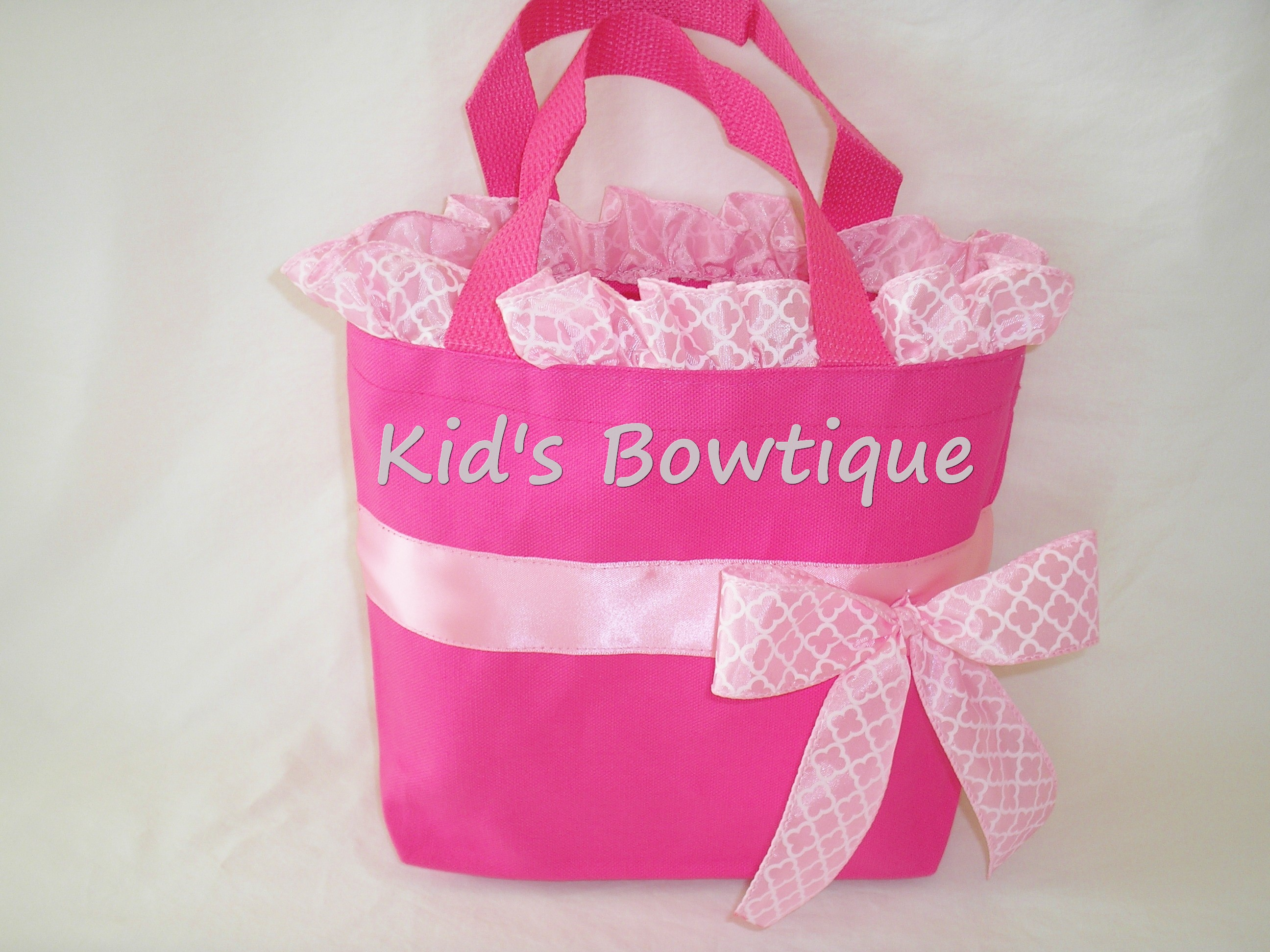 personalized baby pink ribbon and bow tote bag- monogrammed canvas bags