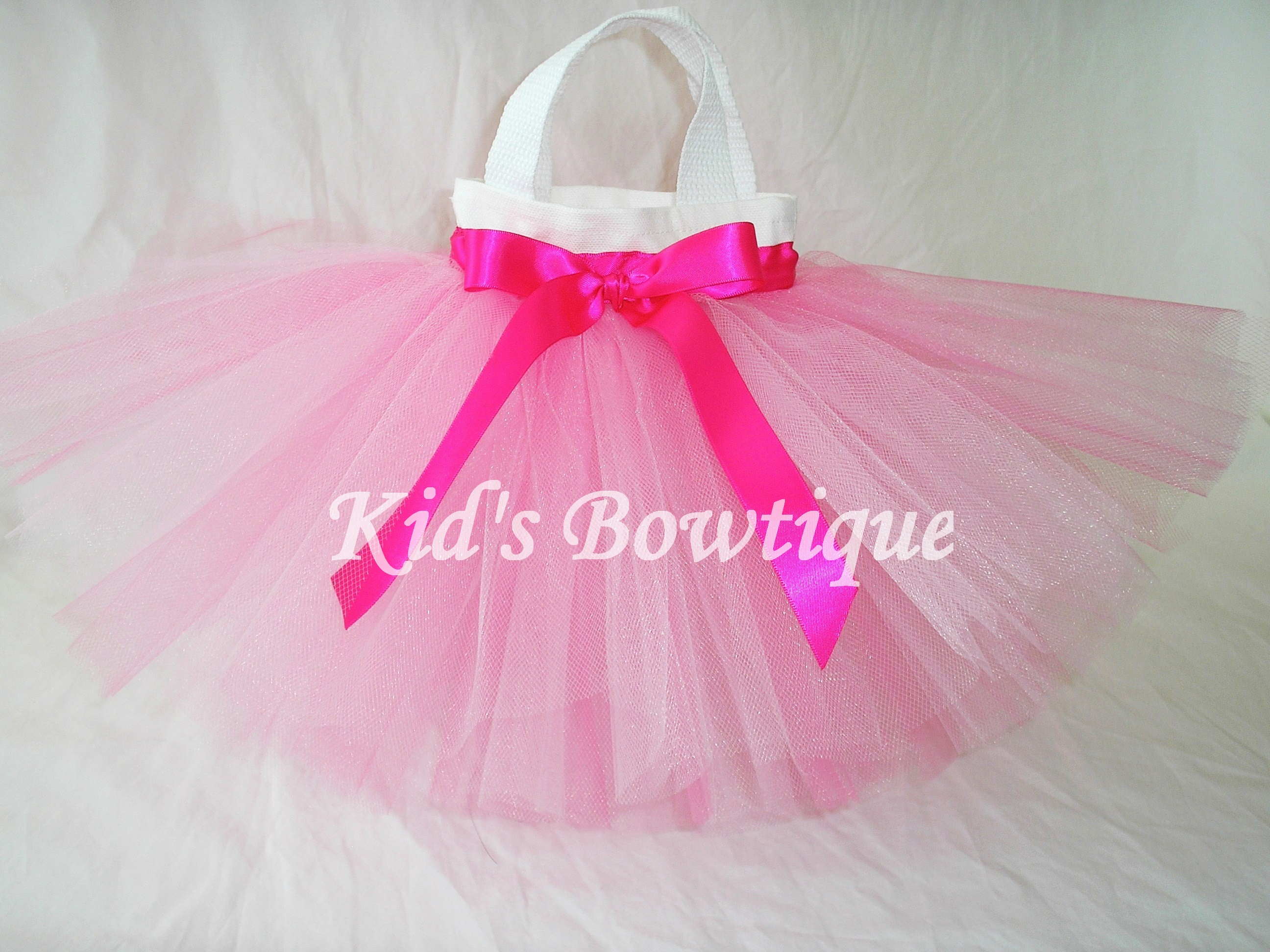 Party Favor Tutu Bags -Item pftb8 Hot Pink Tutu and Ribbon Bow