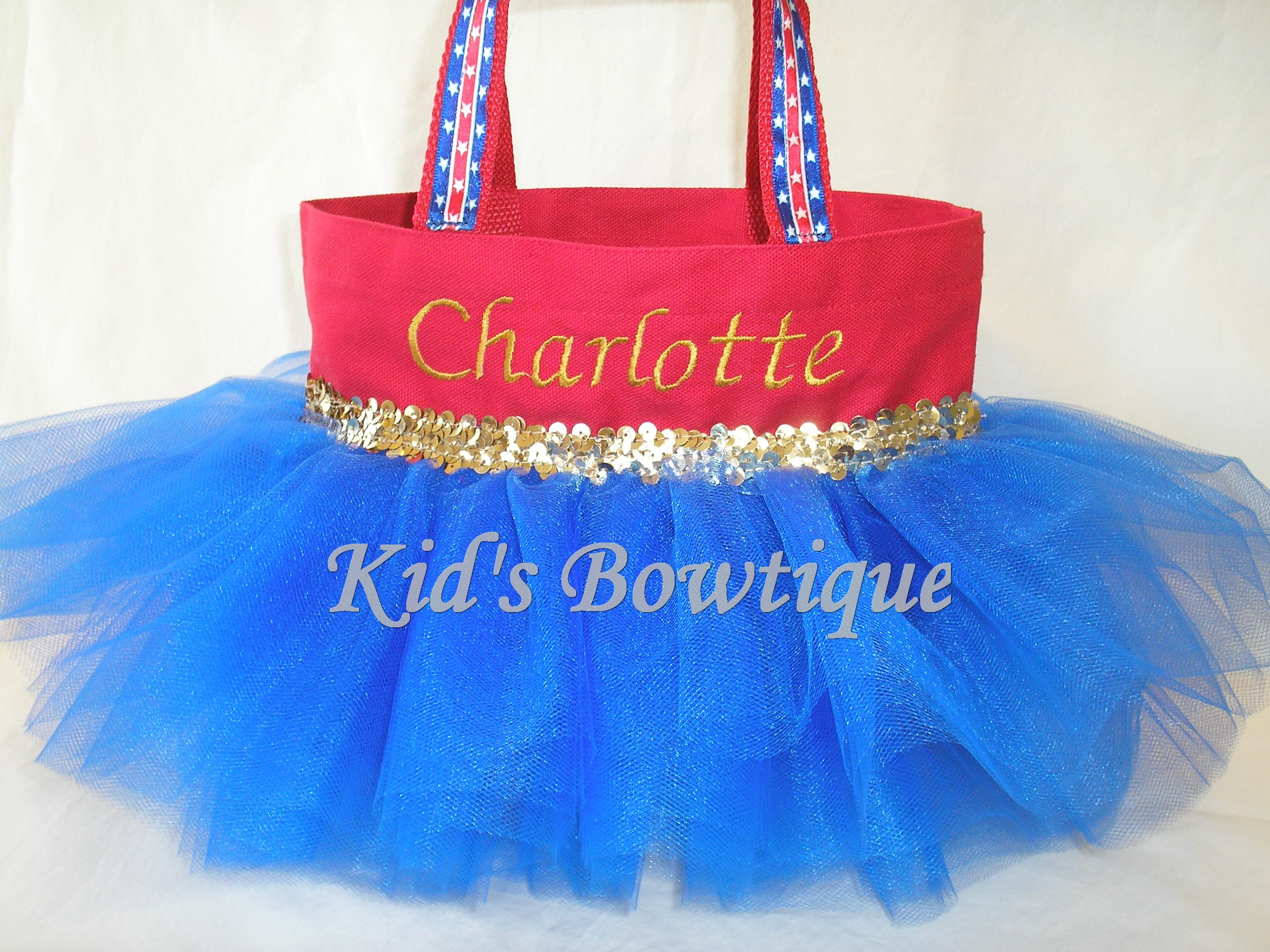 Halloween Tutu Bags - Item HTTB14 Monogrammed Wonder Girl Tutu Bag