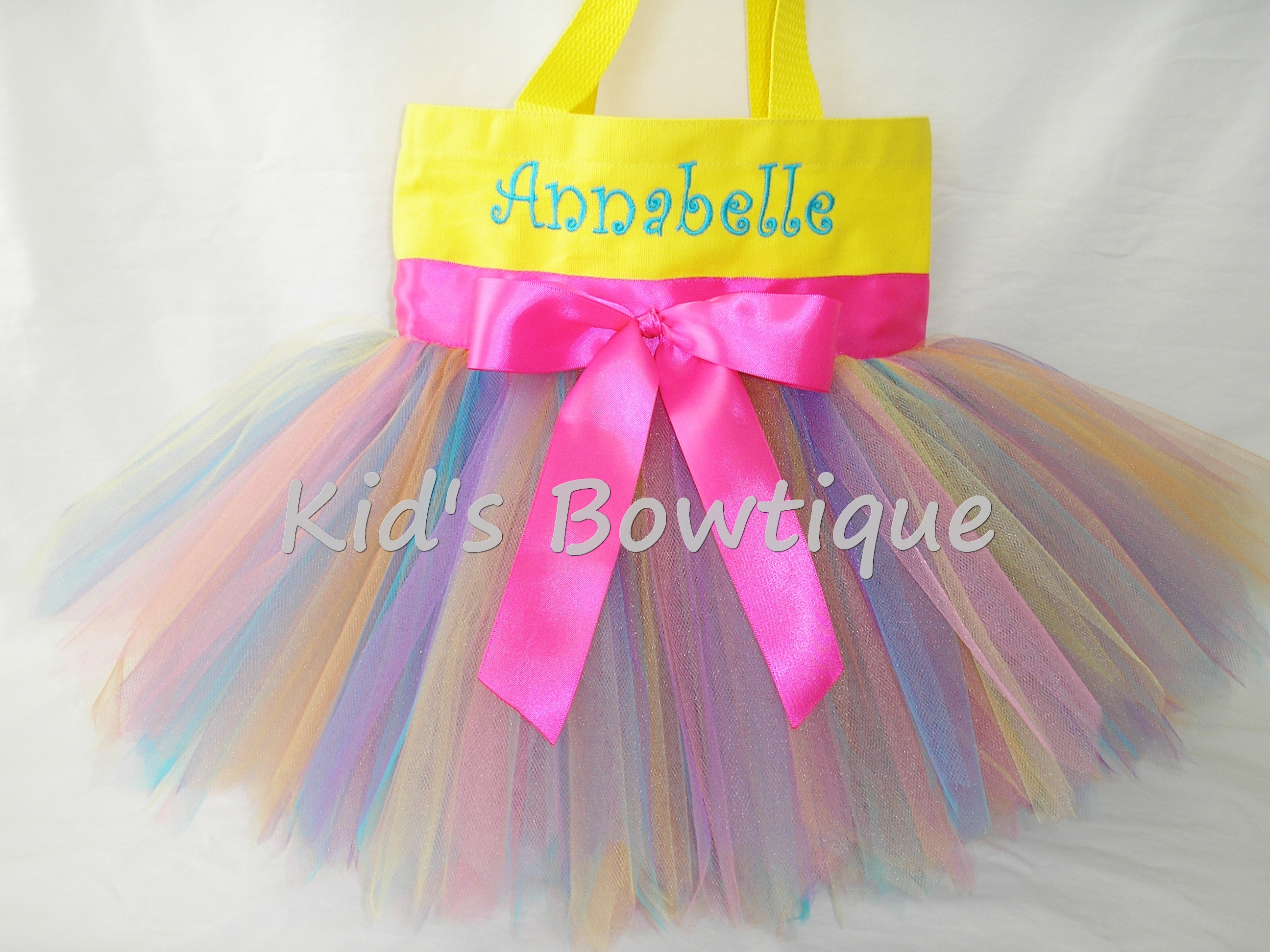 Monogrammed Tutu Tote Bag - ttb42 Yellow Rainbow