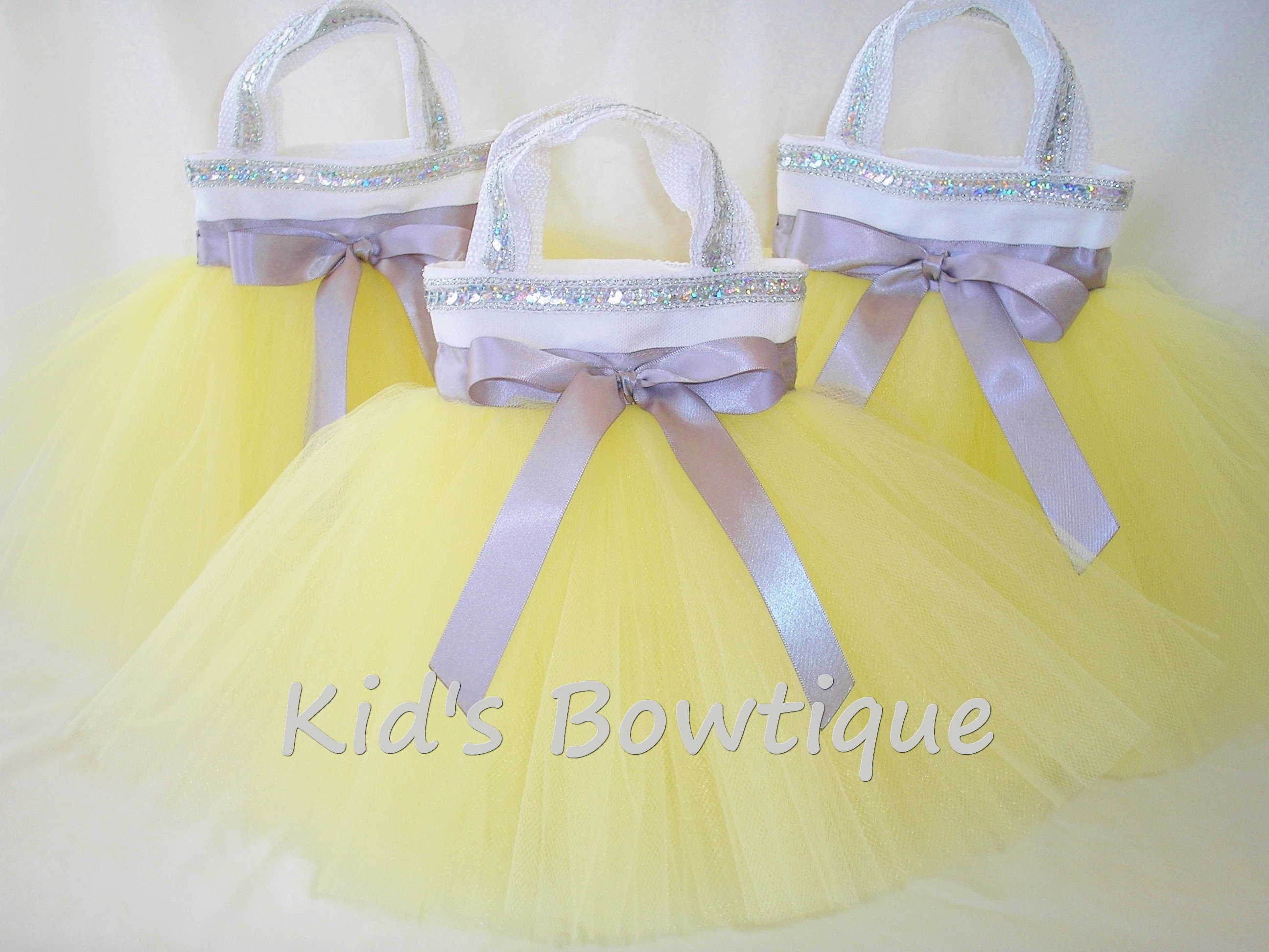 Party Favor Tutu Bags -pftb28 Yellow and Silver Trims Party Favor Tutu Bags