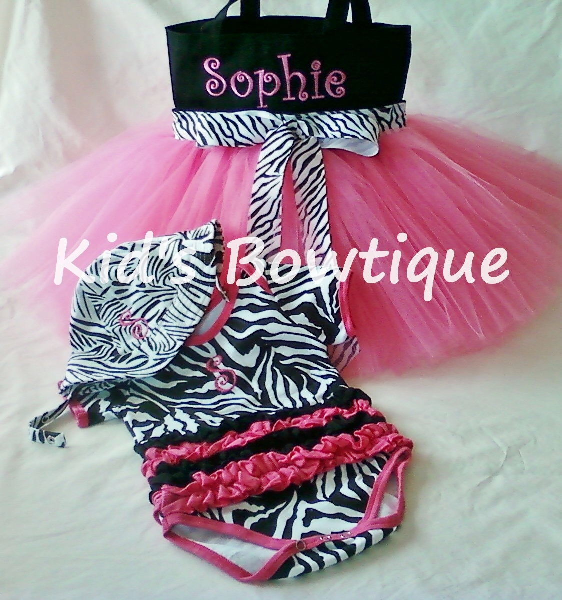 Monogrammed Zebra Ribbon Tutu Bag with Matching Onesie and Sun Hat