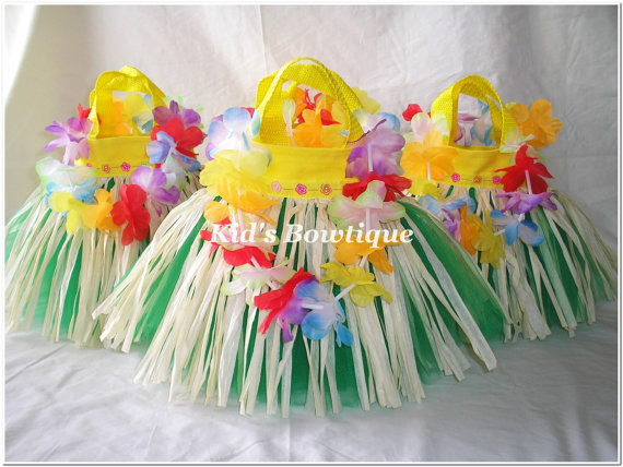 Party Favor Tutu Bags -pftb20 Hawaiian Luau Hula Grass Skirt Bags