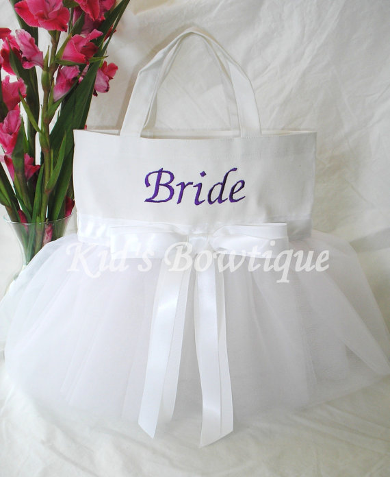 Personalized Tutu Tote Bag - ttb35 Ballgown SKIRT Simply Elegant White Bow