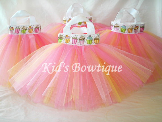 Cupcake Birthday Party Favor Decoration Tutu Bags