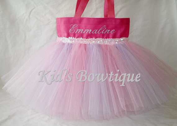 Monogrammed Tutu Tote Bag - ttb13 Pink with Lavender Striped