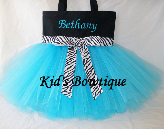 Monogrammed Tutu Tote Bag - Item ttb7 Aqua with Zebra Ribbon