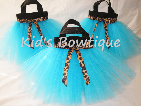 Party Favor Tutu Bags -Item pftb7 Leopard-Cheetah Ribbon
