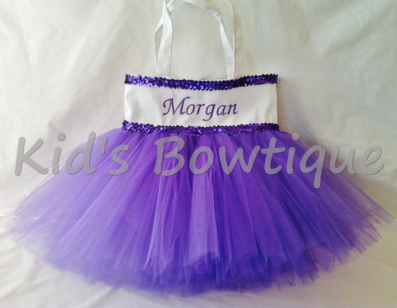 Monogrammed Tutu Tote Bag - ttb26 Double Purple Sequins