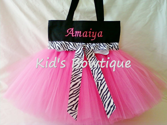 Monogrammed Tutu Tote Bag - Item ttb6 Hot Pink with Zebra Ribbon