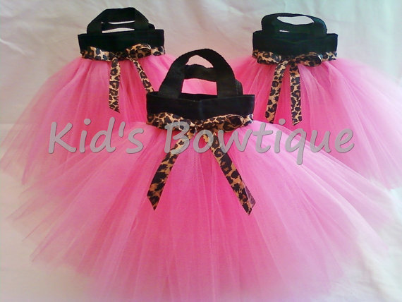Party Favor Tutu Bags -Item pftb9 Leopard-Cheetah Ribbon Hot Pink