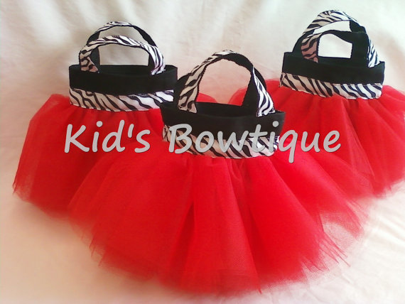 Red Zebra Ribbon Diva Birthday Party Favor Tutu Bags