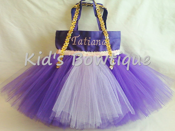Princess Tutu Bag - ItemPTB7 Purple Bag Lavender Tutu Pink Sequins