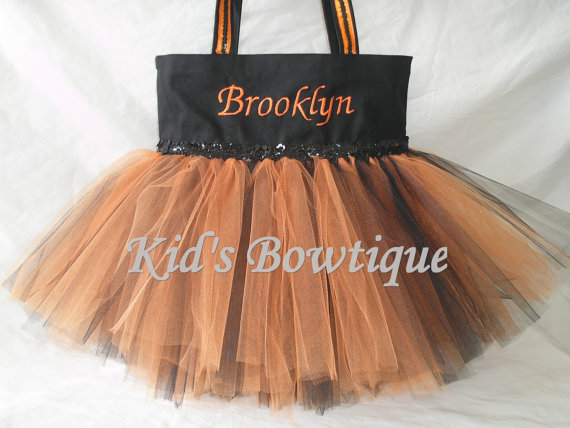 Halloween Tutu Bags - Item HTTB10 Monogrammed Orange Black Sequins