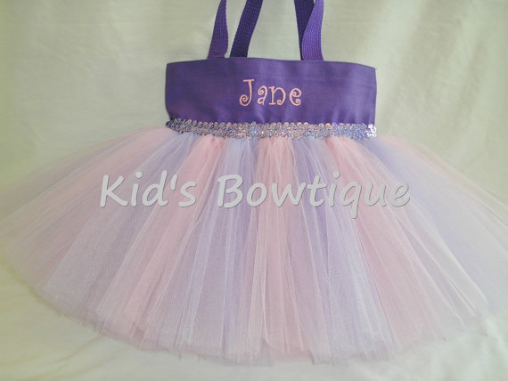 Monogrammed Tutu Tote Bag - ttb40 Purple-Pink with Lavender Striped