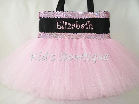 Monogrammed Tutu Tote Bag - ttb15 Black Double Pink/Lavender Sequins