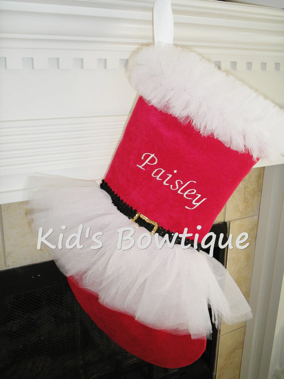 Christmas Tutu Stocking - ItemCTS4 Monogrammed Mrs.Claus Red and White