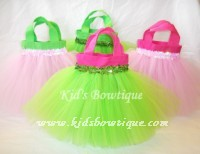 Party Favor Tutu Bags -pftb10 Lime and Hot Pink with Sequins