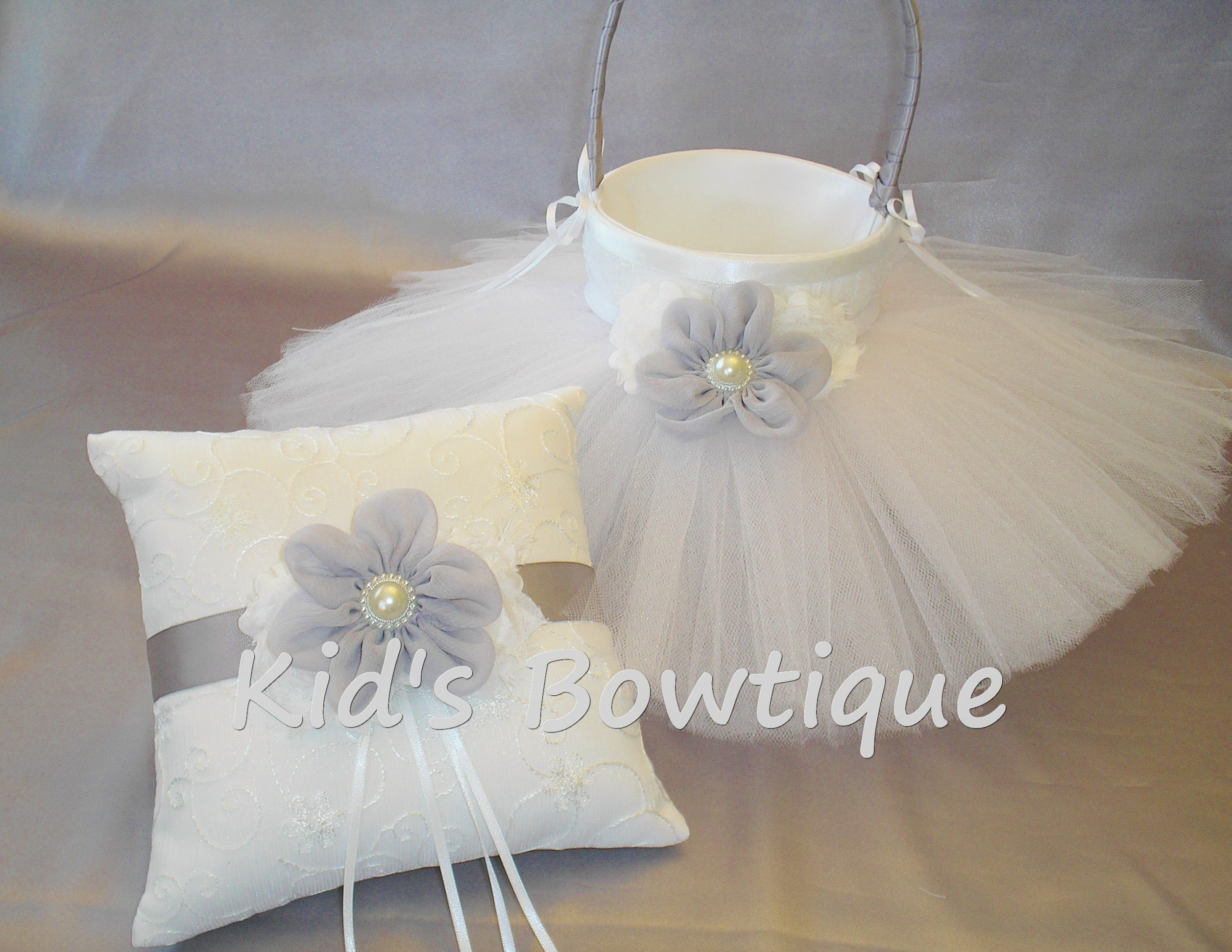 Wedding Flower Girl Basket with Tutu and Matching Ring Bearer